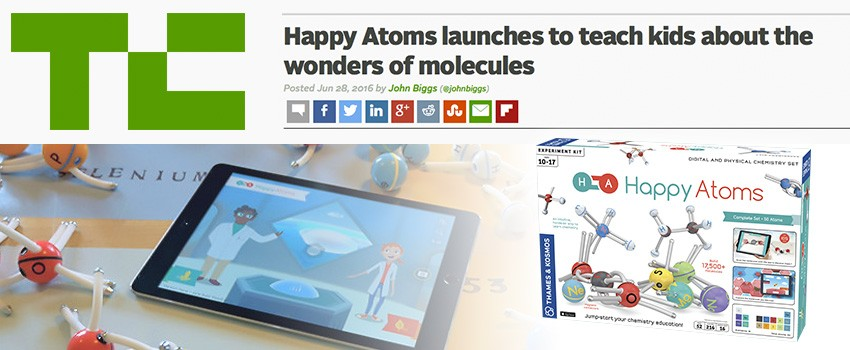 TechCrunch covers the Happy Atoms Indiegogo campaign