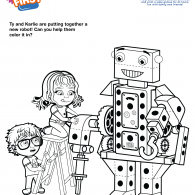 Kids First Robot Building Coloring Page (ACTIVITY)