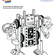 Kids First Robot Ride Coloring Page (ACTIVITY)