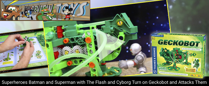 Geckobot takes on superheroes in ToysReviewToys