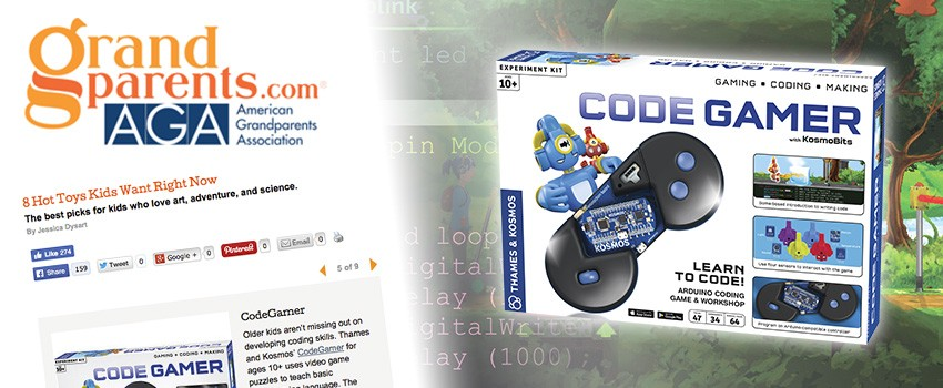 """Grandparents.com included CodeGamer in """"8 Hot Toys Kids Want Now"""""""